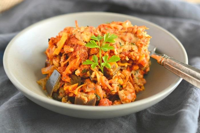 Casserole de Batata doce com Beringela e Tomate