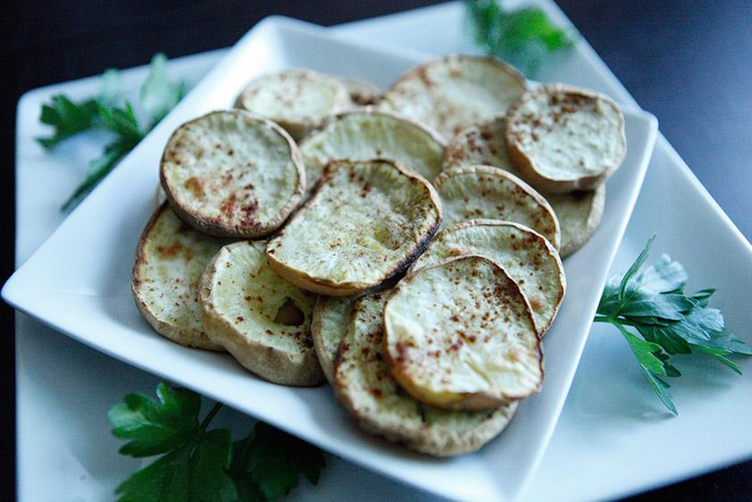 Chips de Batata Doce com Coco e Canela